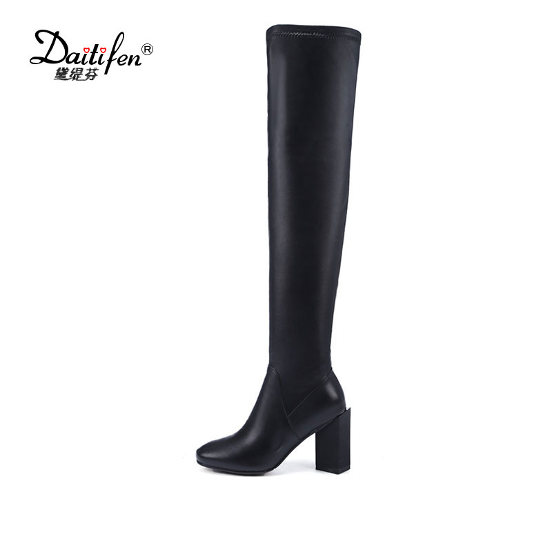 купить Daitifen Genuine leather +PU over the knee boots for women solid pointed toe high heels boots fashion elegant Lady Riding Boots дешево