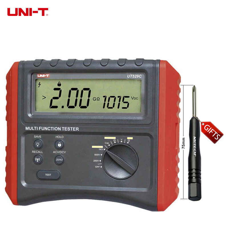 DHL UNI-T UT529C Digital Earth Tester Resistance Current Voltage Frequency Tester Insulation Earth Ground Resistance 2in1 Meter benetech gm3125 energy saving portable 12v 1 4ma voltage overload insulation resistance tester