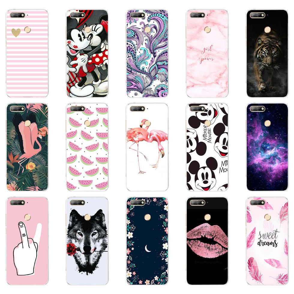 "D For Huawei Honor 7C Case Cover 5.7"" Soft TPU Silicone Bumper Honor 7C Cases for Huawei Honor 7C AUM-L41 Phone Case Back Cover"
