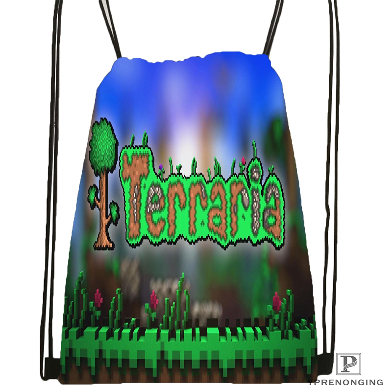Custom Terraria Drawstring Backpack Bag Cute Daypack Kids Satchel (Black Back) 31x40cm#180531-02-37