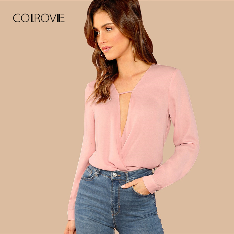COLROVIE Pink V-Neck Draped Wrap Sweet   Blouse     Shirt   2018 Autumn Long Sleeve Elegant Korean Office Sexy Womens Tops And   Blouses