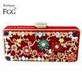 Women's Fashion Handbags Red Velour Crystal Metal Flower Appliques Evening Clutches Bag Wedding Bridal Shoulder Handbags Purse