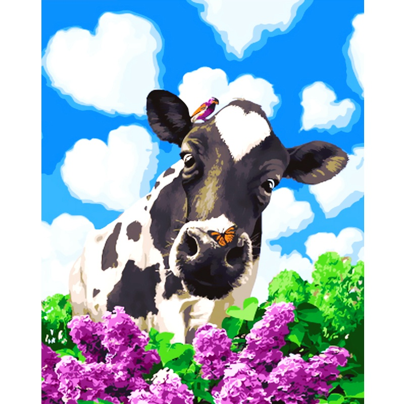 Cutiepop 2018 New Arrival Brand Resin Round Diamond Painting Cross Stitch Animal Cow Resin Mosaic Embroidery Home Decor NCP262