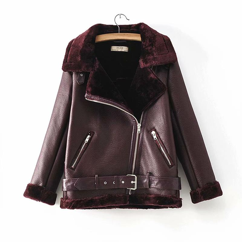 HTB1T4bFXinrK1RjSsziq6xptpXaZ - Warm women's wintemotorcycle velvet jacket female short lapels fur thick Korean version plus velvet jacket bomber jacket