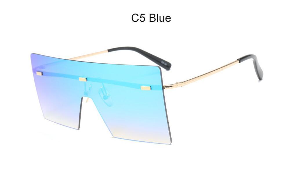 Oversize Brown Sunglasses 2020 Women Retro Vintage Sunglasses Luxury Brand Rimless Eye wear Big Shades 12