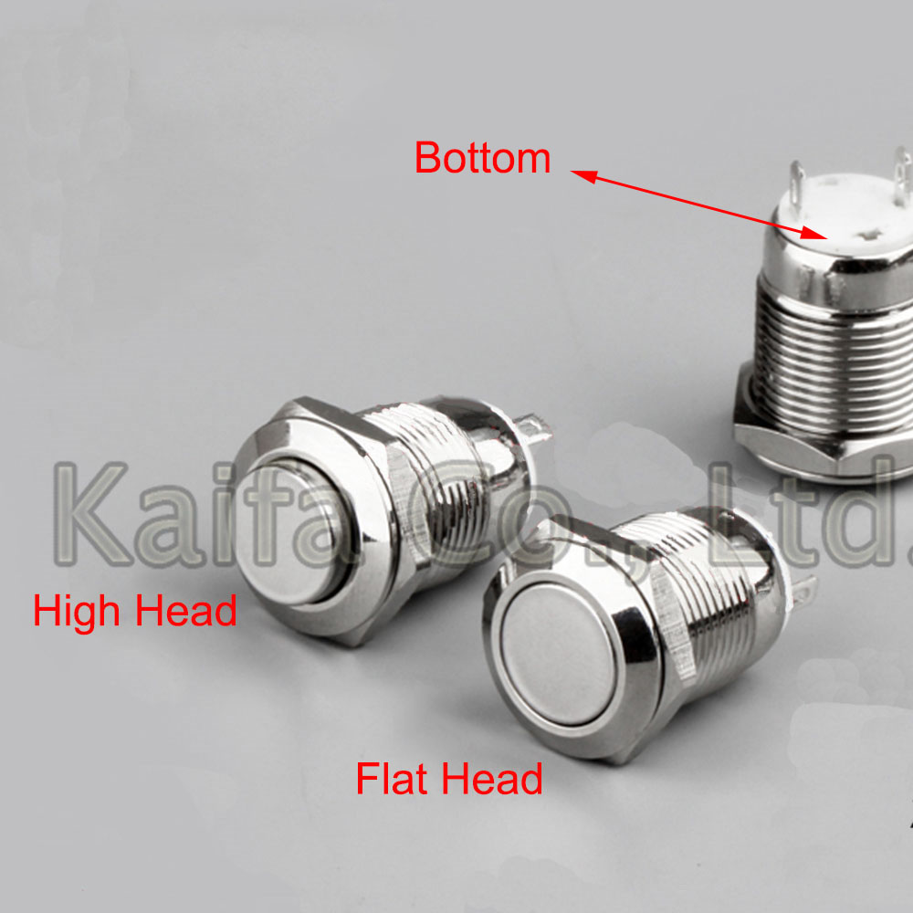 12MM 2P NO Panel Hole Metal Button Switch Latching Power Push Button Flat/High Head Self Locking /Self Reset soldering IP67 1 x 16mm od led ring illuminated latching push button switch 2no 2nc