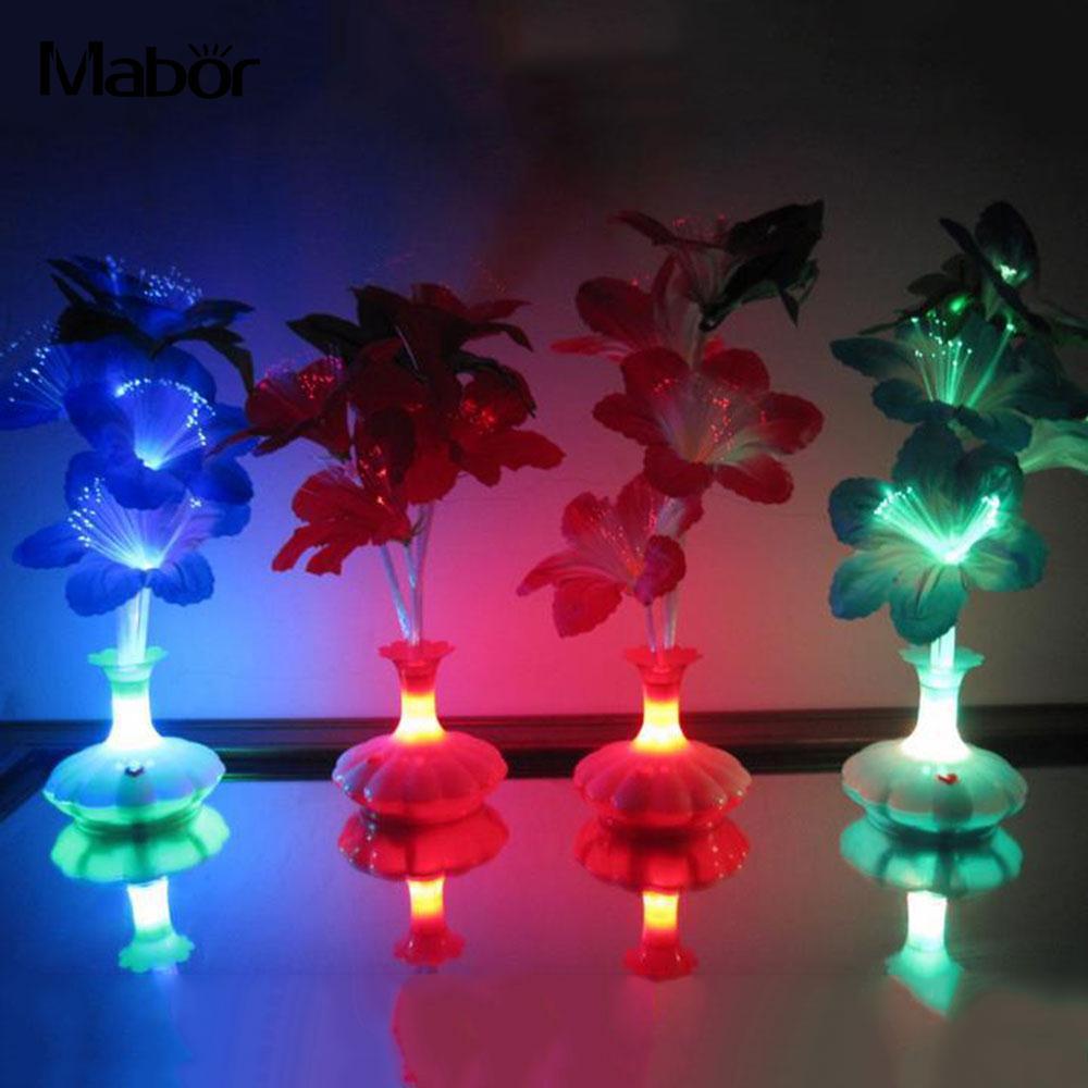 Светодиодный светильник в виде цветка капок, ваза из оптического волокна, украшение в виде цветков, цветной светодиодный светильник из оптического волокна