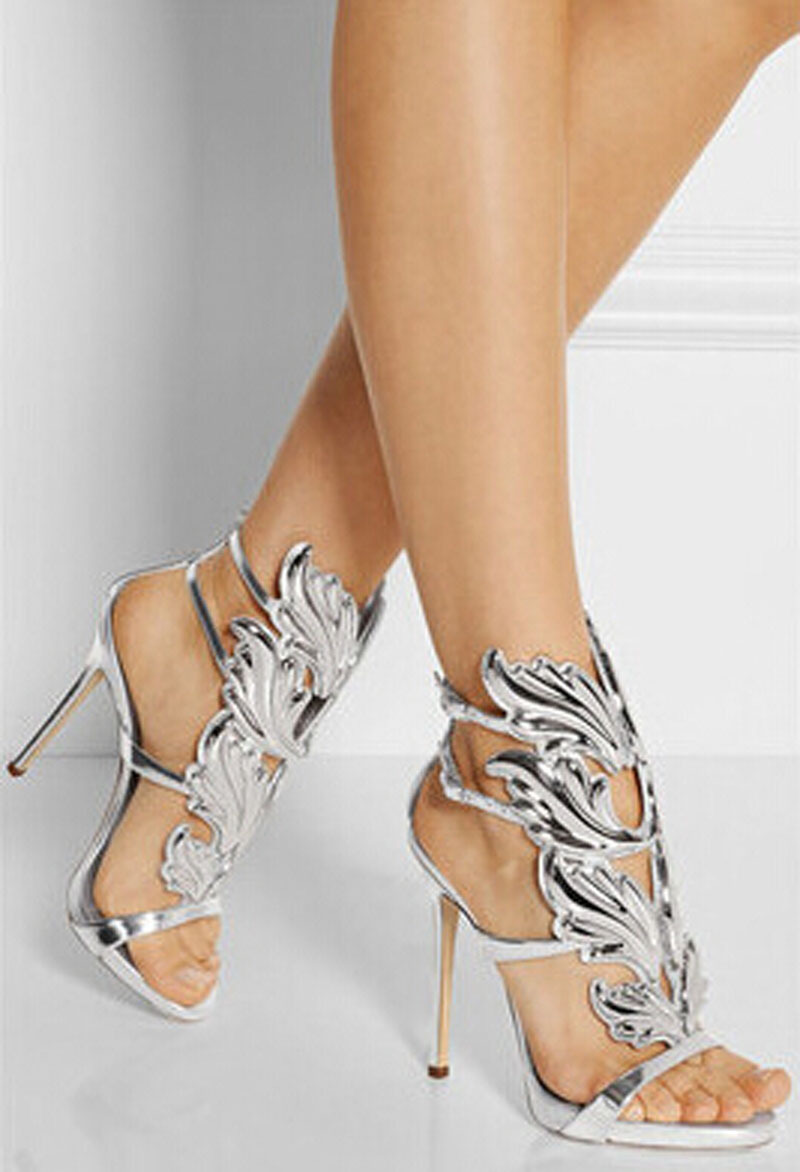ФОТО newest design charming silver leaf decor gladiator sandal shoes woman cut-outs ankle buckle sandal shoes