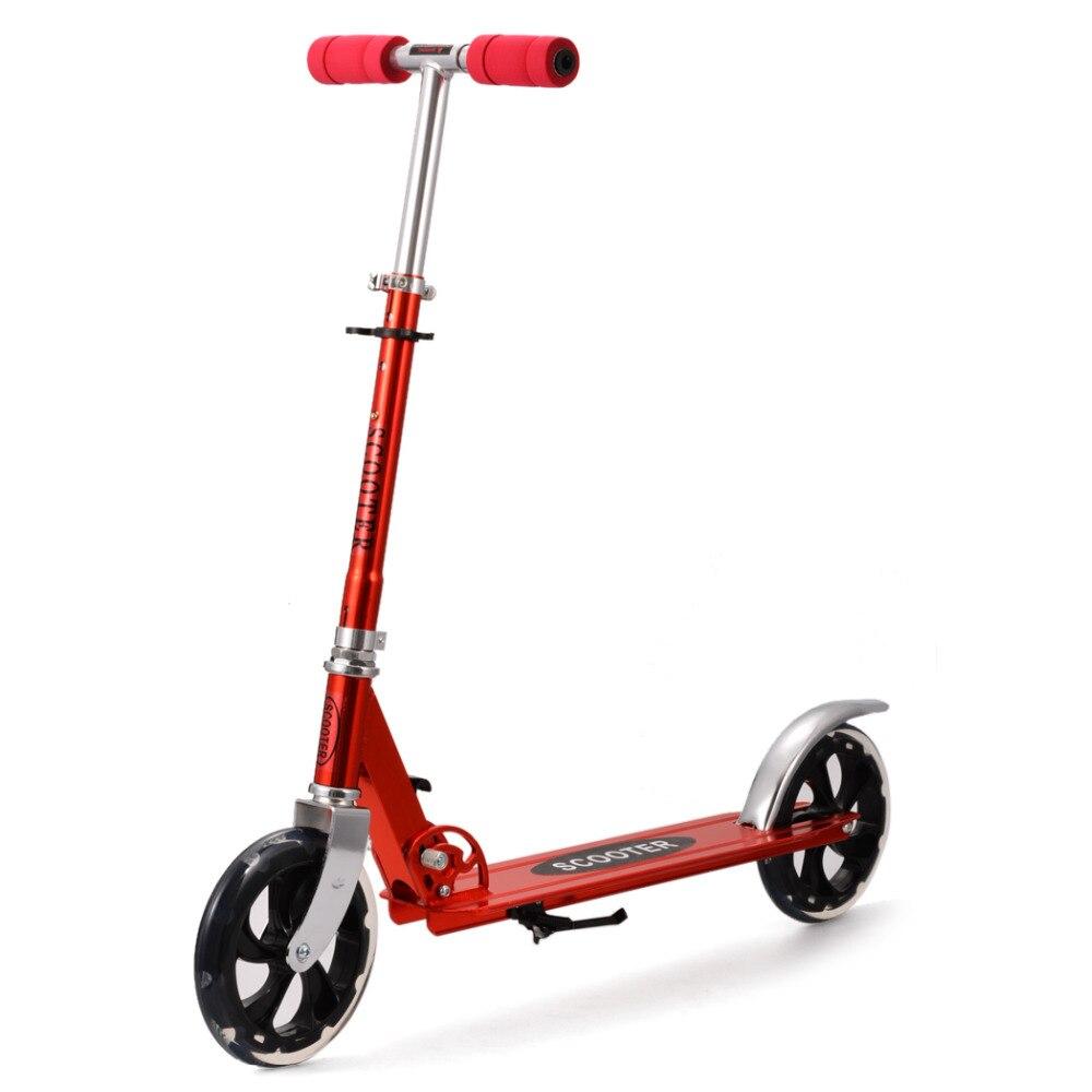 Prix pour NOUVEAU En Alliage D'aluminium Pied Scooters Adulte Enfants Scooter trottinette Réglable Pliant Planche 2 Roues Patinete Adulto CHAUDE