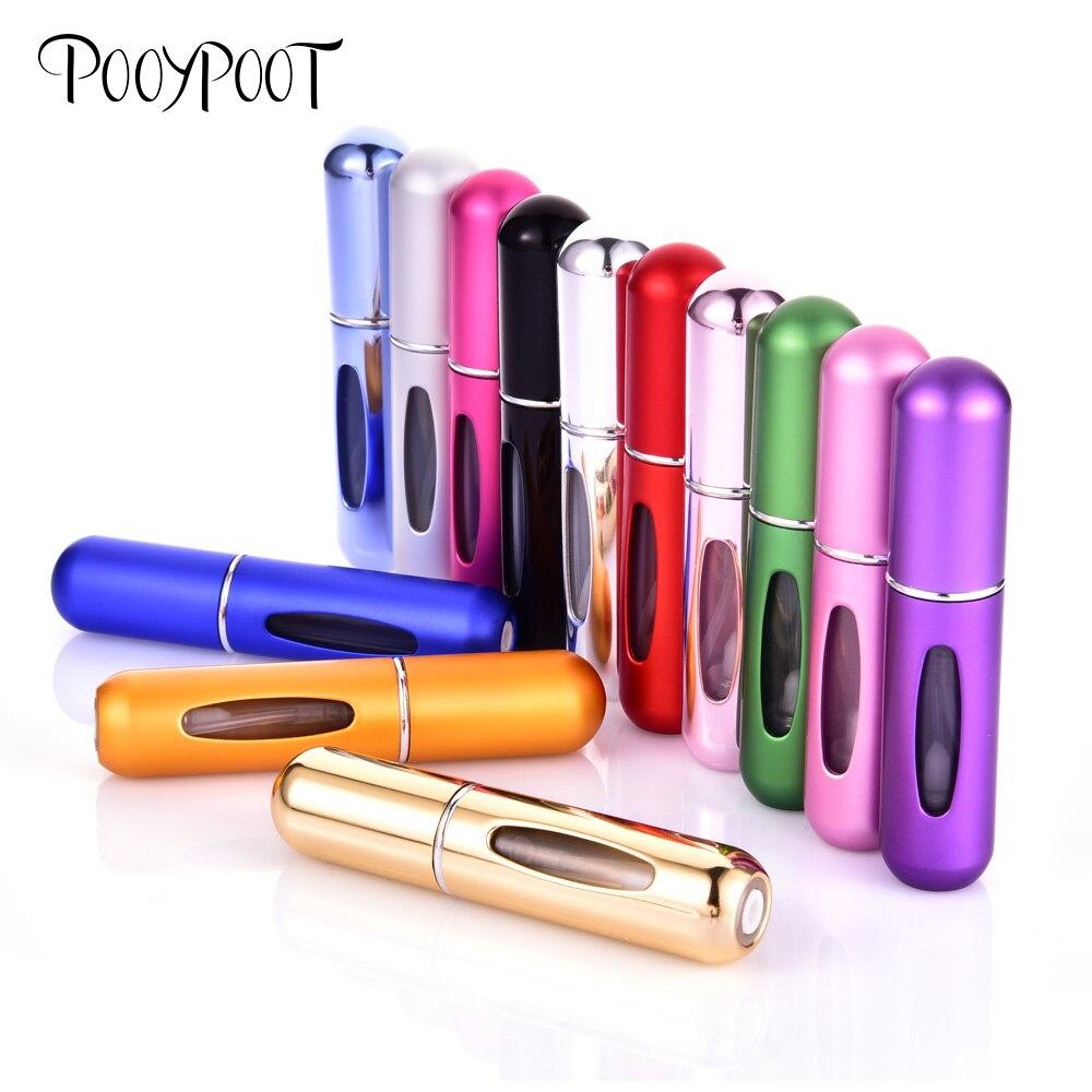 Pooypoot Mini Refillable Perfume Bottle Portable Spray Bottle Atomizer Perfume Aluminum Travel Container Empty Parfum Bottles