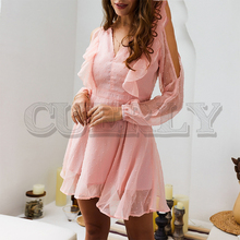 CUERLY Sexy cold shoulder women short chiffon dress Summer backless ruffle plus size Polka dot spring see through dresses