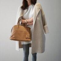 Корейский осень весна длинный кардиган женский Открыть стежка свободные длинные рукав вязаный свитер кардиганы Для женщин кардиган Feminino