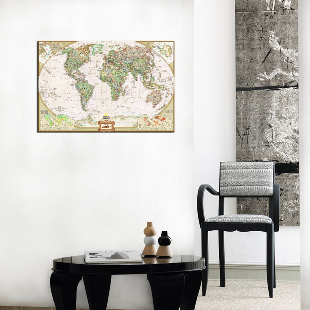 Home Decor Canvas One Piece World Map Mural Art Decorations For ...