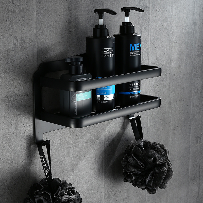 NEW Aluminum Bathroom Shelf Black Gold Bathroom Shelves Rack with Hooks Single Tier Wall Mounted Corner Shelf цена