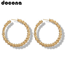docona Punk Gold Silver Color Circle Drop Earrings for Women Metal Abstract Round Dangle Earring Party Jewelry Oorbellen 4272