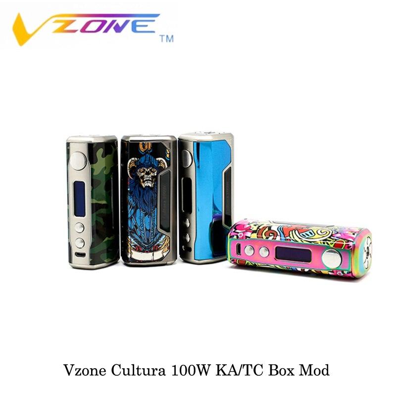 Cigarettes électroniques Vzone Cultura 100 w KA/TC Boîte Mod Alimenté Par 18650 Batterie Norme/Doux/Dur /Mode utilisateur Vaporisateur Vaporisateur VS SMOK