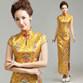 Satin embroidery Gold cheongsam dresses long banquet ritual dresses women elegant slim high-slit sexy oriental styled dresses