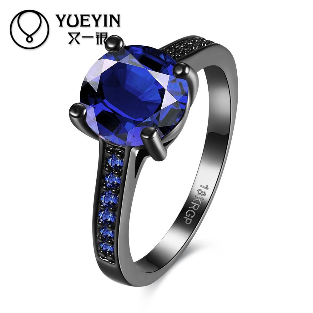 Fashion Flower Shiny Many Colors Crystal Ring Women Charming Engagement  Jewelry Black Gold Filled Promise Rings