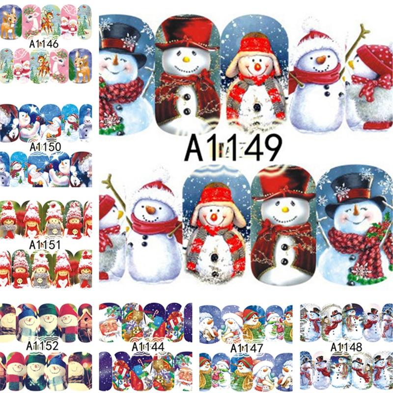 12 Designs Christmas Water Decals Xmas Deer Halloween Popular Mixed Pattern Transfer Nail Art Stickers Slider Decorations|Stickers & Decals| - AliExpress