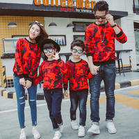 Famli Father Son Matching Camouflage Sweatshirt Family Mother Daughter Full Sleeve Casual Print Cotton T shirt Outfits Clothes