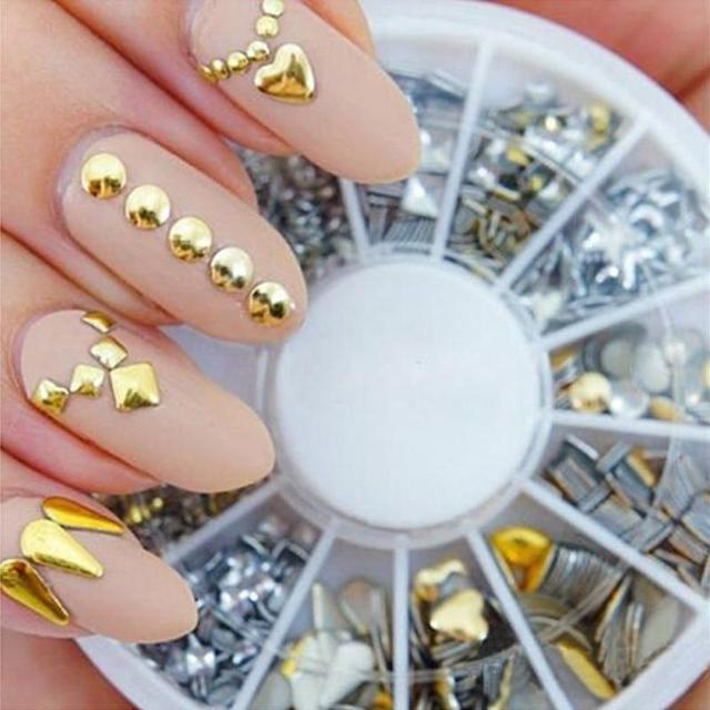 Hinmay Silver/ Gold 3D Glitter Metal Nail Art Decoration Round Wheel ...