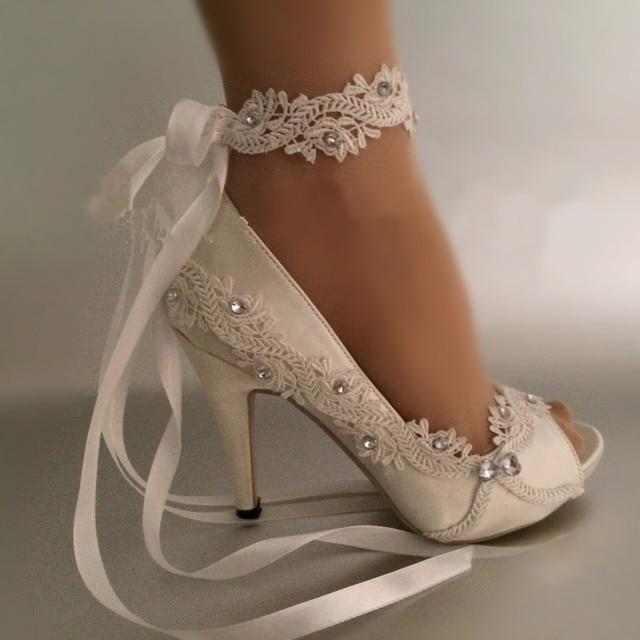 Dress Shoes Women Pumps Open toe lace wedding shoes Peep Toe Elegant Stain  Riband High Heels large size 41 9f78e2a60abb