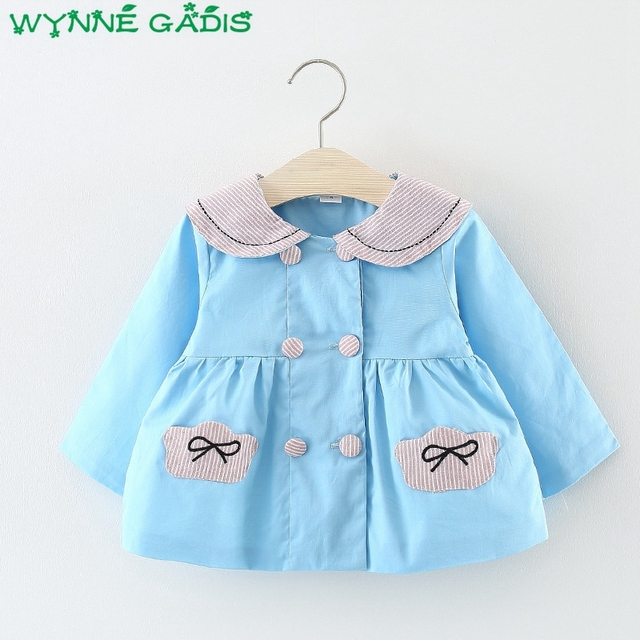 c1dfdceb0 Autumn Infant Girls Long Sleeve Striped Cartoon Cat Turn down Collar ...
