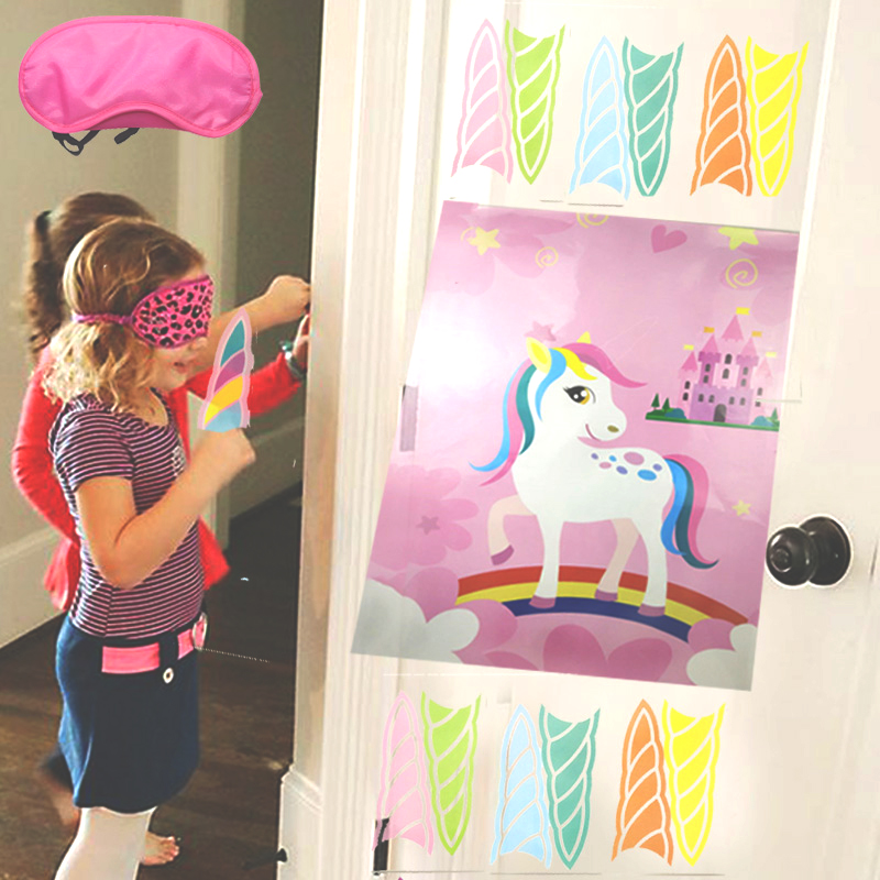 15pcs Funny Unicorn Party Games Birthday Party Decorations Kids Pin The Horn Eye on The Wall Stick Unicorn Game Baby Shower Gift