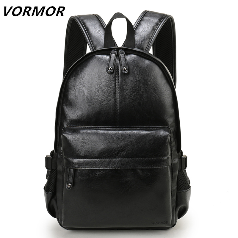 VORMOR Brand Preppy Style Leather School Backpack Bag For College Simple Design Men Casual Daypacks mochila male New jooz preppy style women leather backpack youth school backpack bag for college vintage bookbags men male casual daypacks