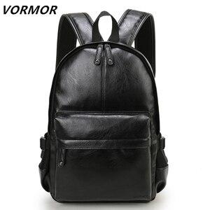 Image 2 - VORMOR mochila escolar de cuero impermeable para hombre, bolso de viaje, informal, de cuero