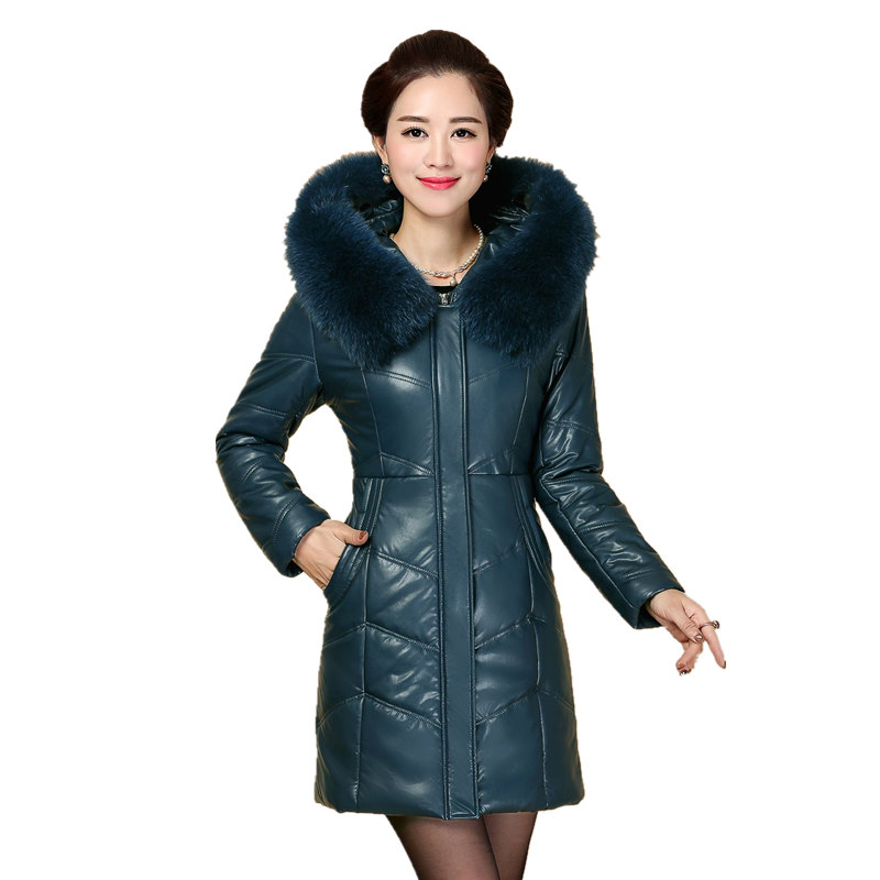 Plus size 8XL Winter Jacket New Style Women Down Cotton Overcoat Thick Warm Coat leather Slim Hooded Fur collar Jacket Female new stand collar slim warm winter jacket woman 2017 chinese style lace pattern down cotton coat plus size female parka okb397
