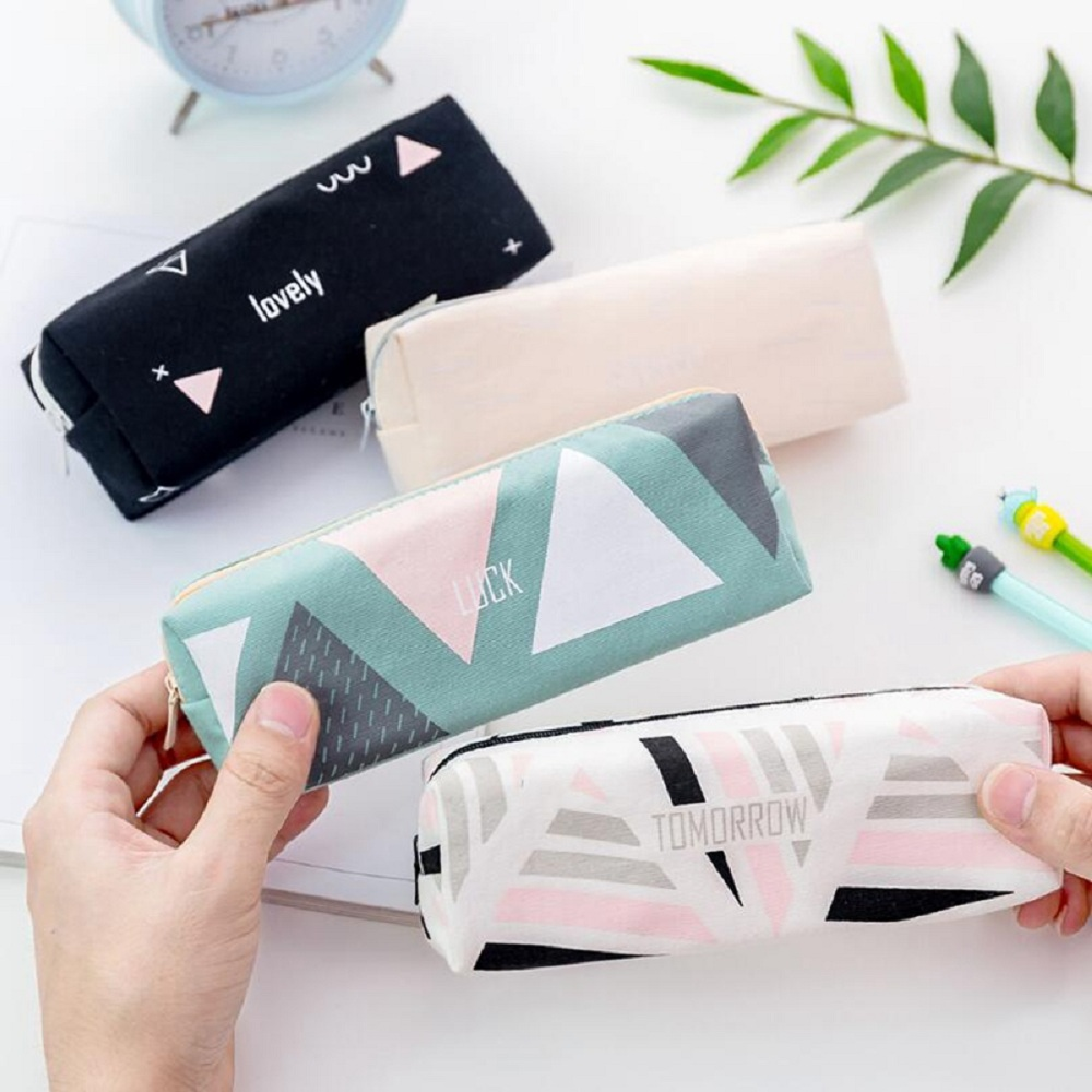 цена на 1PCS Canvas Starry Sky Pencil Case School Pencil Cases for Girl Stationery Geometry Pencil Bag Big Black Pen Box School Supplies