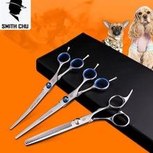 7.0 inch Pet Scissors Dog Grooming Scissors Set Straight & Curved & Thinning Shears Sharp Edge Animals Hair Cutting Tools Kit