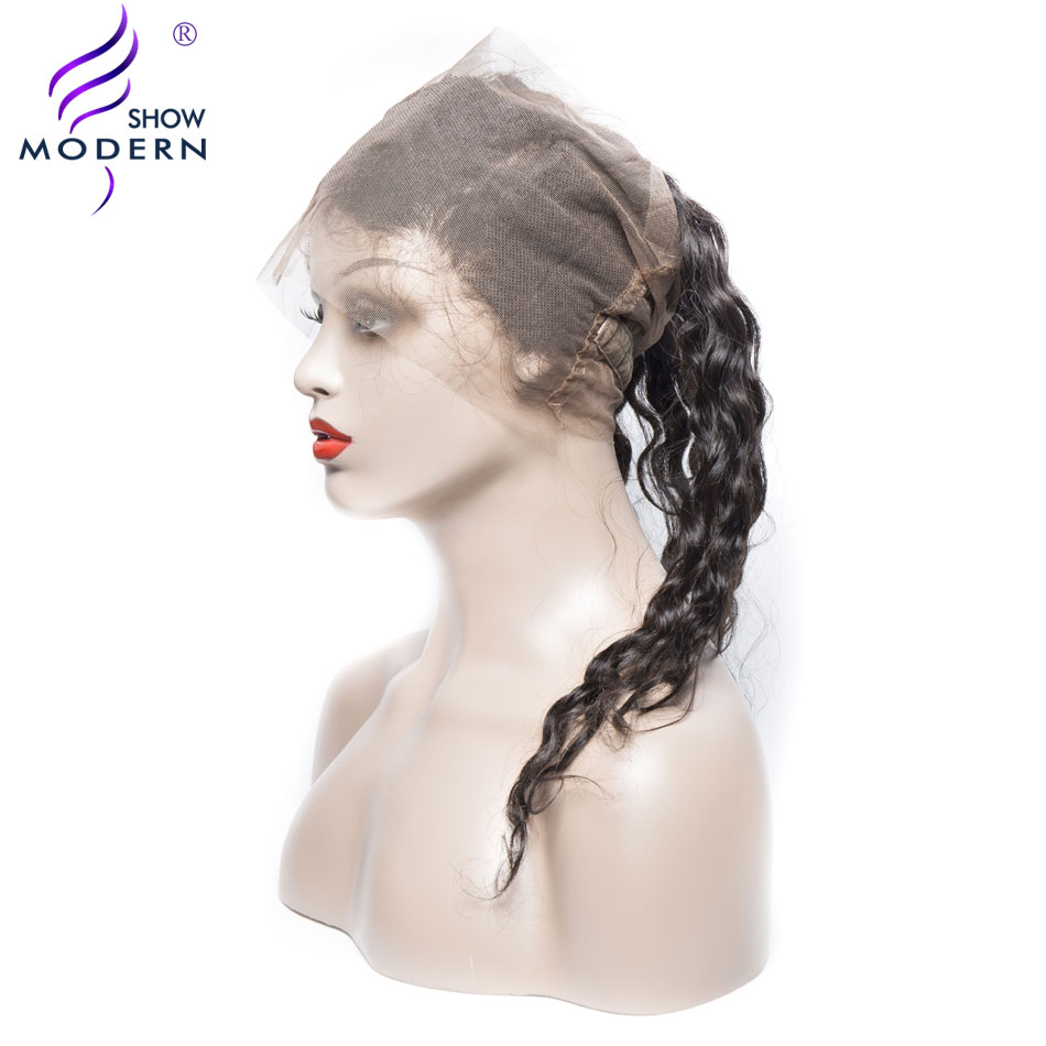 Modern Show Curly Hair 360 Lace Frontal Closure with Baby Hair Pre Plucked Remy Human Hair Can be Dyed Free Shipping