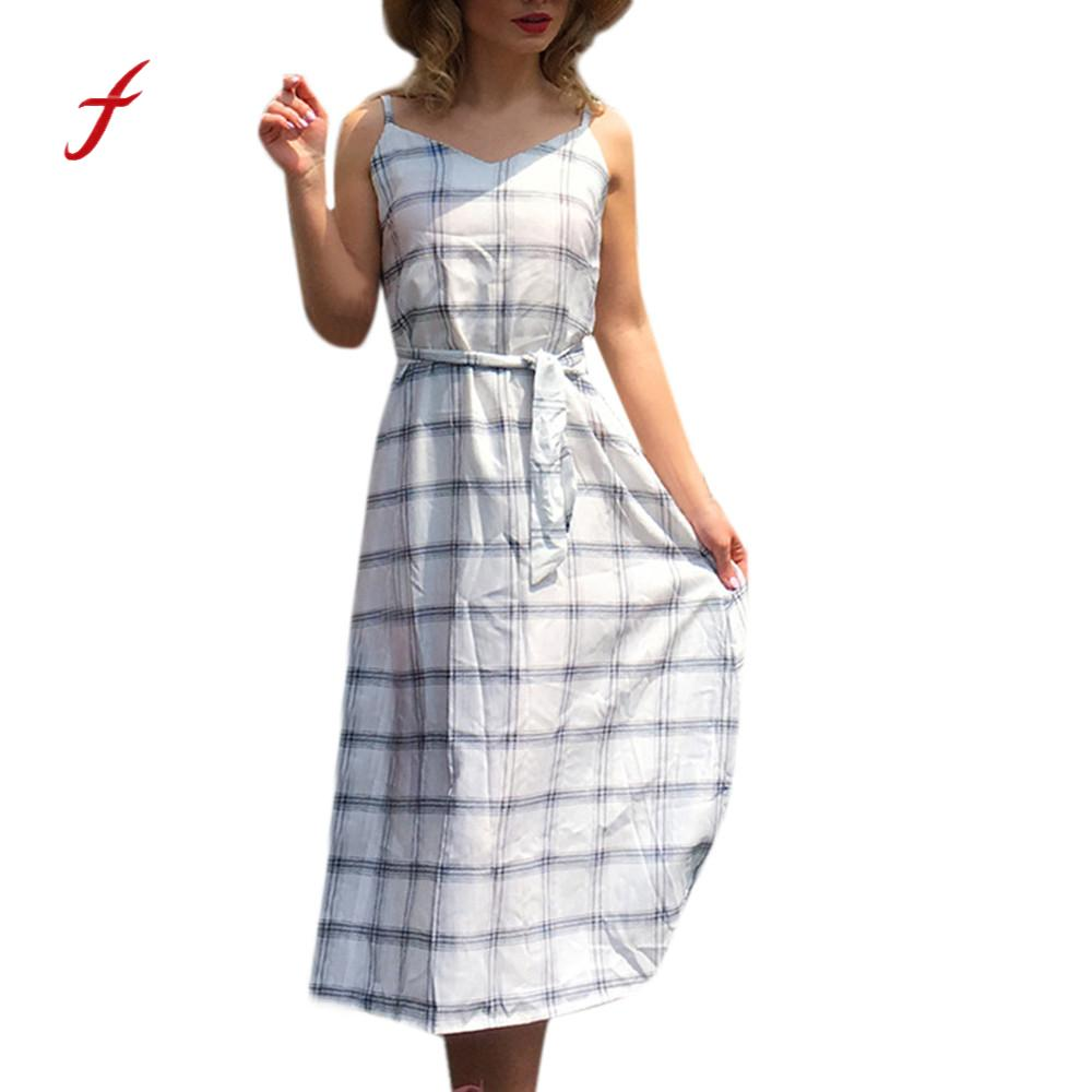 Feitong Women Summer Bohemian V neck Elegant Beach Dress Sexy Casual Plaid Print Sleeveless Dress Loose Mid-Calf Dresses PY