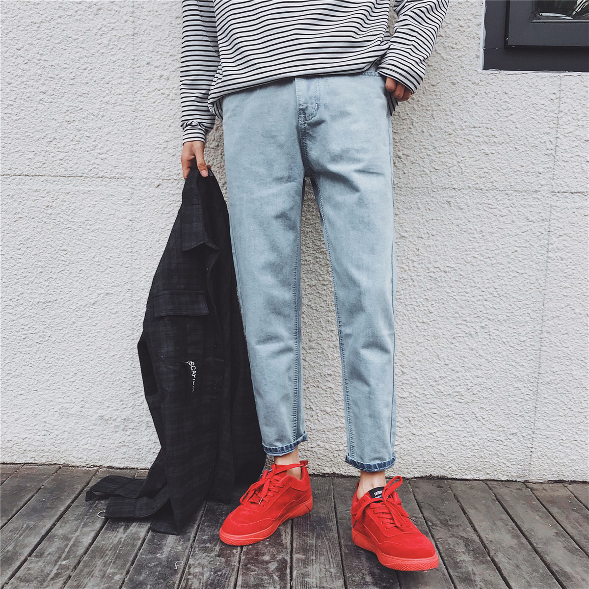 2018 New Classic Mens Fashion Trend Casual Blue Slim Fit Cowboy Pants Youth Stretch Homme Jeans Denim Trousers Size 28-34