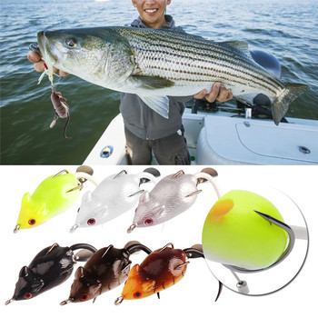 New Fresh Water Fishing Lures High Carbon Steel Hook Lifelike Mouse Bait Artificial 5cm 10.5g Snakehead Fishing Mouse Hooks Barb