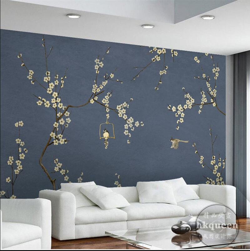 Chinese style wash painting dark blue background wintersweet flowers and bird  customization wall mural wallpapers fashion chinese style flowers and bird pattern removeable wall stickers