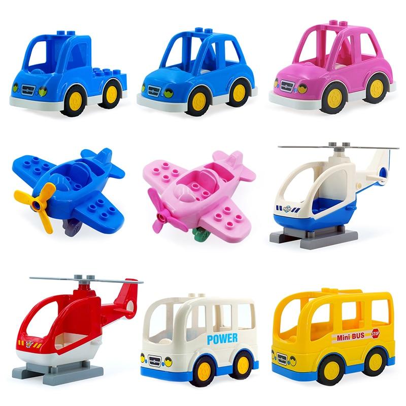Vehicle Accessory Bus Big Building Blocks Assemble Bricks Classic Diy Toys Children Gift Compatible With Duplo Car Aircraft Sets
