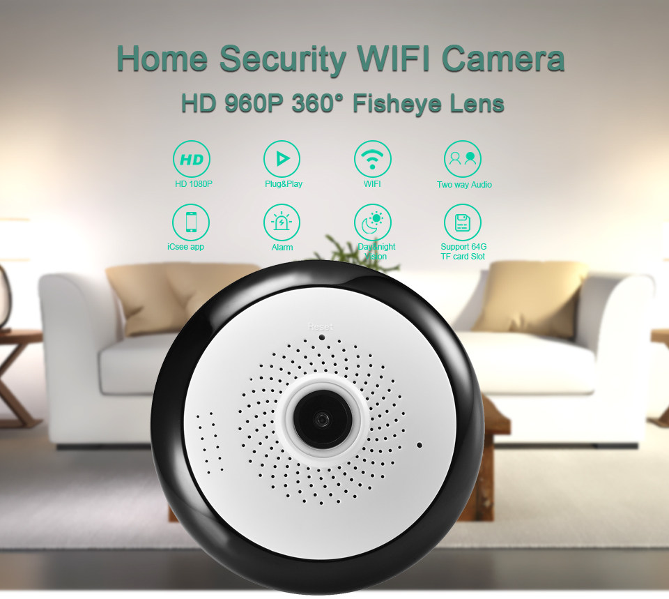 BESDER Fisheye VR 360 Degree Panoramic Camera HD 960P Wireless Wifi IP Camera Home Security Surveillance System Camera P2P iCsee 7