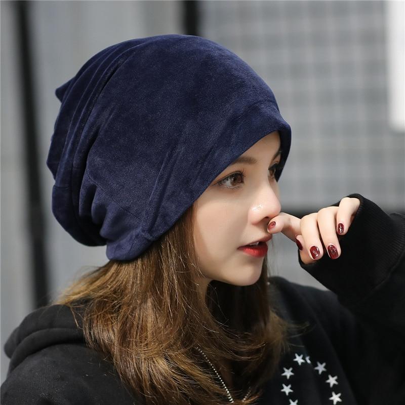 2019 New Women's Velvet Beanie Hat Winter Warm Polyester Skullies Beanies for Ladies Solid Velour Bonnet Hats Dropping Shipping