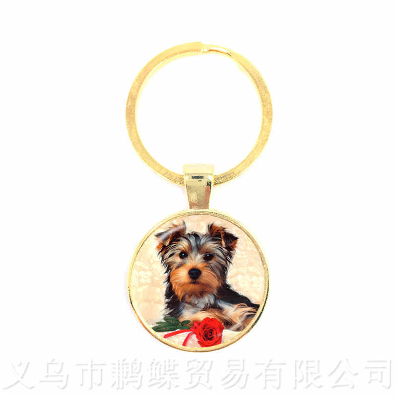 Schnauzer Picture Keychains 25mm Round Glass Dome Animal Pattern Series Pendant Dog Lover Creative Gift Handmade Keyring
