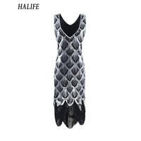 HALIFE Women 1920s Black Vintage Gatsby Flapper Dress Plus Size Sleeveless Sequined Tassel Party Dresses Vestido