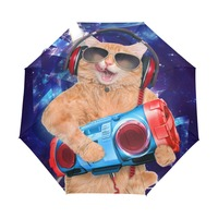 Automatic and Non automatic Men Women 3 Folding Umbrella Unique Funny Cat Travel Windproof Outdoor Rain And Sun Umbrellas