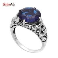 Szjinao Promoção Vintage Blue Stone Jóias Victoria Antigo Anel de Casamento Jóias de Prata Esterlina 925 Anéis para As Mulheres