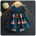 Korean Children's Garment 2016 A Summer New Girl Cartoon Fox Printing Short  A Doll Skirt Shorts Fashion Suit