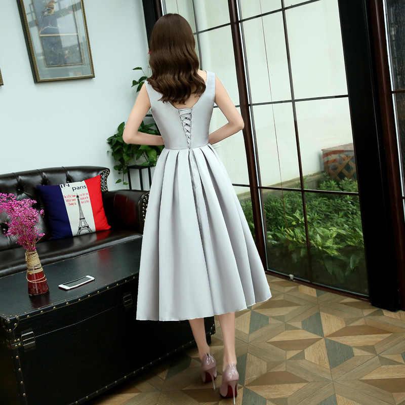 Evening Dress 2019 New O-neck Silver Party Dresses Tea Length Appliques Flower a Line Lace Up Formal Dress Robe De Soiree