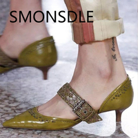 2018 Fashion New Women Shoes Genuine Leather Low Heels Buckle Strap Pointed Toe Woman Pumps Metal Shallow Ladies Shoes Pumps