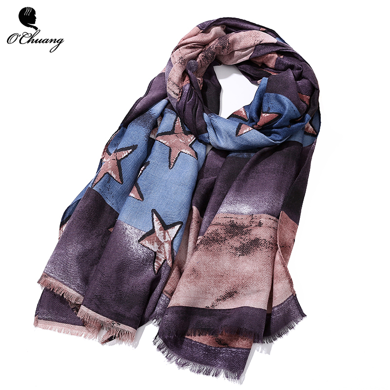 O CHUANG New Fashion Soft Women Scarf Female Star prints Long Size 180*90cm bufandas cachecol hijab Viscose Scarves