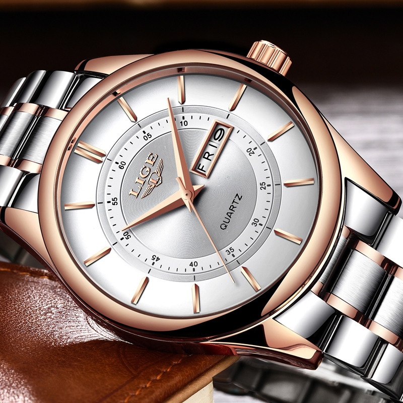 LIGE Watch Men Top Luxury Brand Fashion Business Quartz Clock Military Waterproof Stainless Steel Sport Watch relojes hombres relojes full stainless steel men s sprot watch black and white face vx42 movement